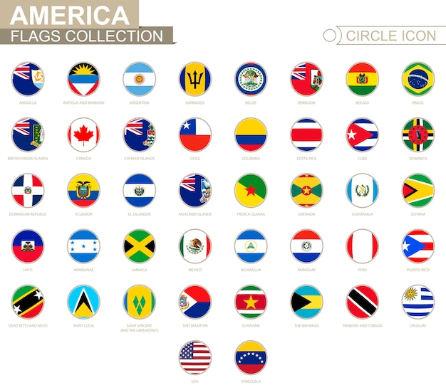 Banderas circulares ordenadas alfabéticamente de américa. conjunto de banderas redondas. ilustración de vector.