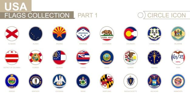 Banderas circulares ordenadas alfabéticamente de los estados de ee. uu. de alabama a minnesota. conjunto de banderas redondas. ilustración de vector.