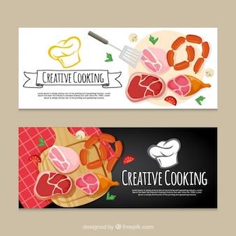 Banderas de cocina creativa con variedad de productos