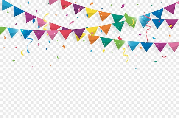 Banderas de colores del empavesado con confeti y cintas para cumpleaños
