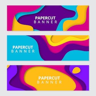 Banderas de colores papel cortado