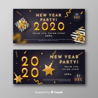 Banderas y confeti de fiesta realista de año nuevo 2020