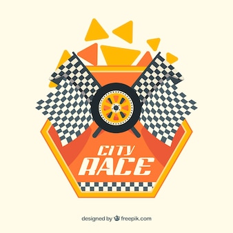 Banderas a cuadros de carreras con diseño plano