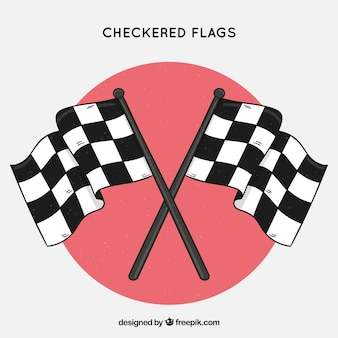 Banderas a cuadros clásicas dibujadas a mano