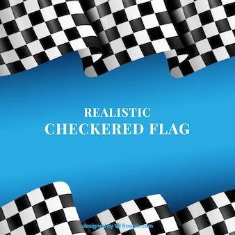 Banderas a cuadros clásicas con diseño realista
