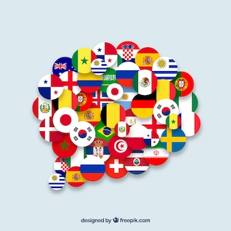 Banderas de diferentes países en forma de burbuja de texto