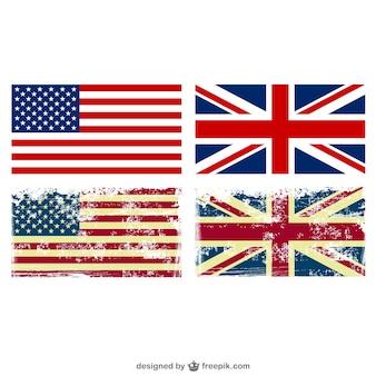 Banderas de estados unidos y reino unido grunge