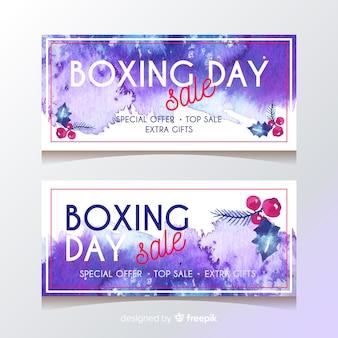 Banderas del día del boxeo estilo acuarela