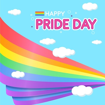 Banderas del día del orgullo con fondo de nubes