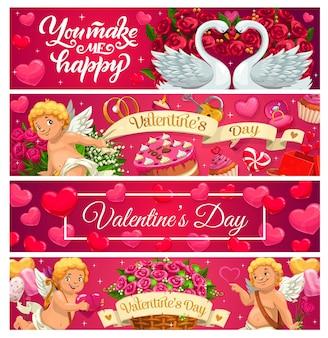 Banderas del día de san valentín de amor, regalos navideños, corazones y cupidos.