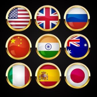 Banderas doradas insignias y etiquetas