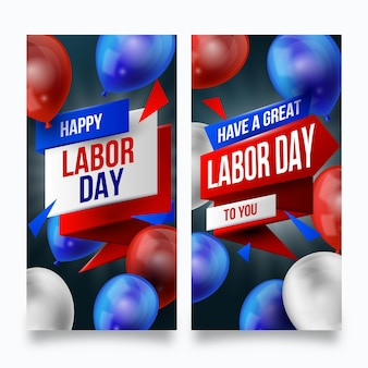 Banderas de estados unidos realistas del día del trabajo