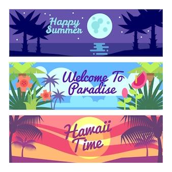 Las banderas felices de la publicidad del vector de hawaii del tiempo del viaje del verano fijaron con las plantas tropicales y las flores. vacaciones