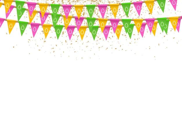 Banderas de fiesta realistas con diseño de huevos de pascua