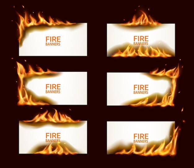 Banderas de fuego, papel quemado, páginas horizontales vectoriales con llamas y chispas