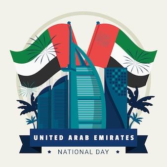 Banderas y fuegos artificiales día de los emiratos árabes unidos