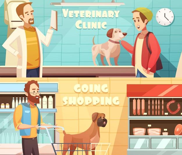 Las banderas horizontales del perro fijadas con la historieta de los símbolos veterinarios y de las compras aislaron el ejemplo del vector