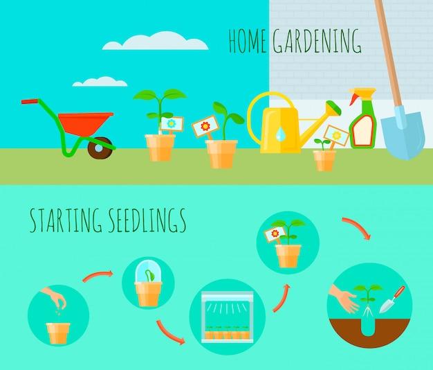 Las banderas horizontales de la planta de semillero fijaron con el ejemplo aislado plano del vector de los símbolos que cultivaban un huerto casero