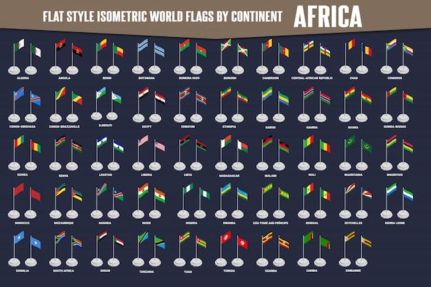 Banderas isométricas de estilo plano de país de áfrica