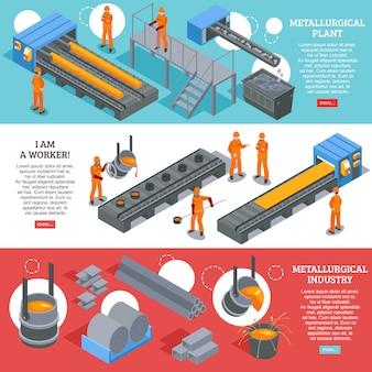 Banderas isométricas de la industria del acero