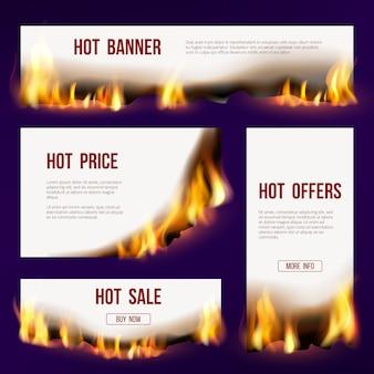 Banderas de llama. plantilla publicitaria con lengua de fuego que quema proyecto de ventas con texto