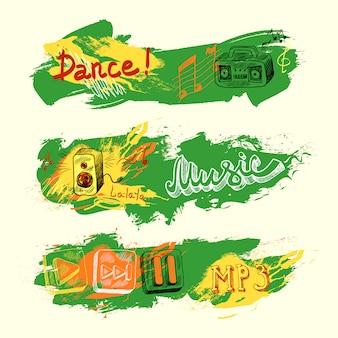 Banderas de música de bosquejo grunge