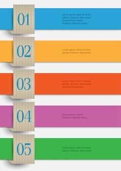 Banderas numeradas de papel de colores