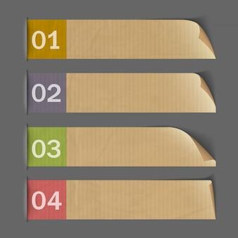 Banderas numeradas de papel para infografía
