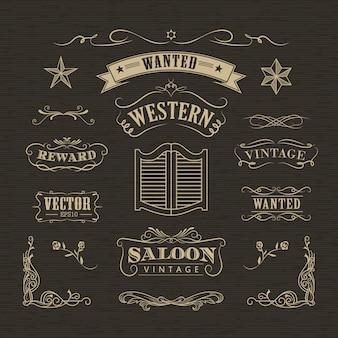 Banderas occidentales dibujadas a mano vector vintage insignia