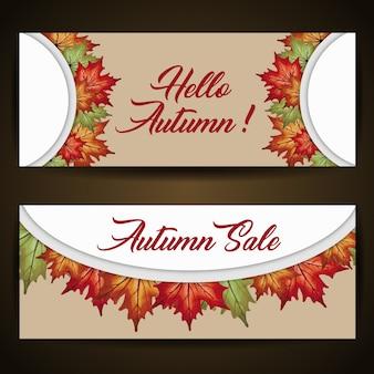 Banderas del otoño con la acuarela hojas anaranjadas, amarillas y verdes