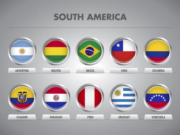 Banderas de países de américa latina. naciones sudamericanas.