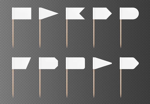 Banderas de palillo blanco aisladas sobre fondo transparente. bandera en blanco en un palo de madera, juego de maquetas. colección de decoraciones de fiesta de vector.