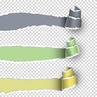 Banderas de papel rasgado con espacio para texto