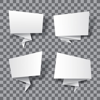 Banderas de papel realistas aisladas sobre fondo transparente. ilustración de banners vacíos 3d. eps10 pancartas de origami de papel.