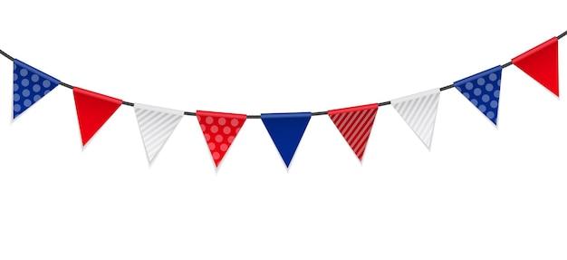 Banderas de papeles triangulares sobre fondo blanco ilustración vectorial
