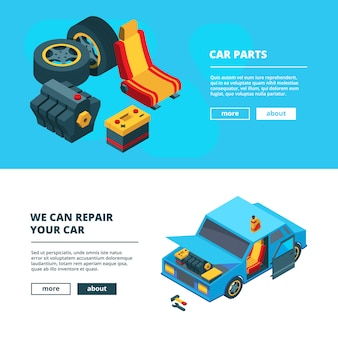 Banderas de piezas de automóviles. servicio automático con herramientas específicas transmisión motor engranaje ruedas acumulador baterías colección isométrica