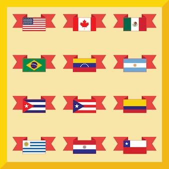 Banderas planas, américa del norte y del sur sobre fondo amarillo