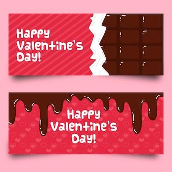 Banderas planas de chocolate para el día de san valentín