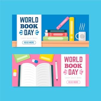 Banderas planas del día mundial del libro
