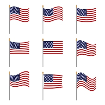 Banderas planas originales nacionales de los estados unidos de américa en blanco colores oficiales proporción ee. uu.