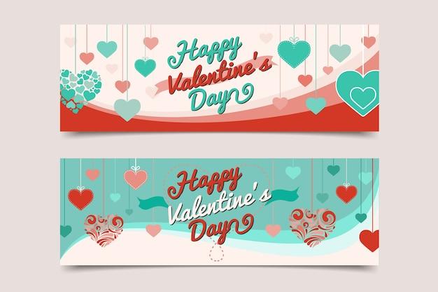 Banderas planas de san valentín con corazones rosas y azules