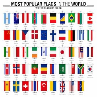 Banderas en los polos, banderas del mundo más populares.