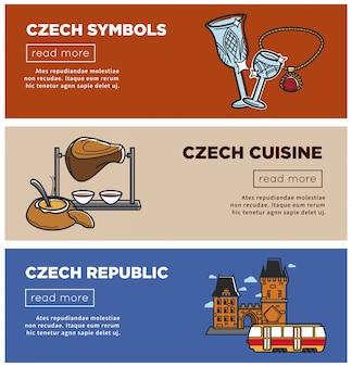 Banderas de república checa de símbolos de turismo e iconos de atracción de viajes de praga