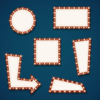 Banderas de signos de carretera retro luz vacía con conjunto de vectores de bulbos