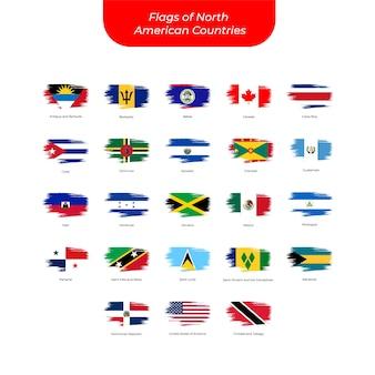 Banderas de trazo de pincel de países de américa del norte