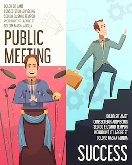 Banderas verticales de businessmeeting conjunto con dibujos animados de símbolos reunión pública aislados ilustración vectorial