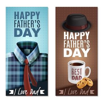 Banderas verticales realistas del día del padre