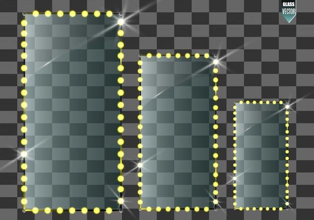 Banderas de vidrio de vector sobre fondo transparente. marco de vidrio transparente vacío. fondo de vector limpio