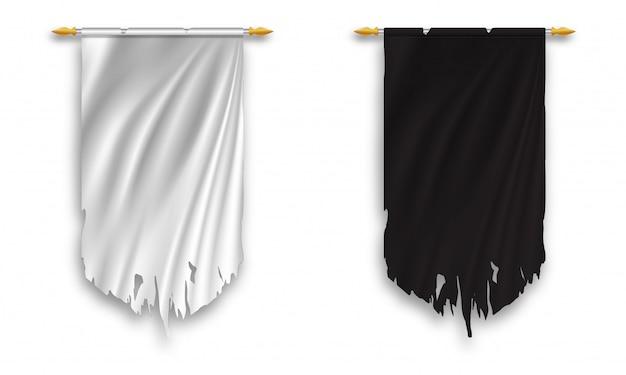 Banderín colgado de pared blanco y negro