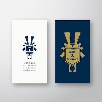 Banderín y pistolas vector abstracto logo y plantilla de tarjeta de visita premium estacionario realista simulacro u ...